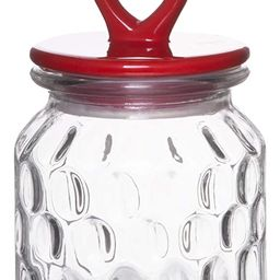 Red Co. Small Food Storage Rain Drop Pattern Glass Jar Canister with Red Heart Shaped Ceramic Air... | Amazon (US)