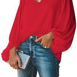 BELONGSCI Women's Casual Sweet & Cute Loose Shirt Balloon Sleeve V-Neck Blouse Top | Amazon (US)