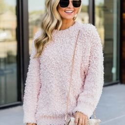 Cute To Cuddle Blush Popcorn Sweater   The Pink Lily Boutique
