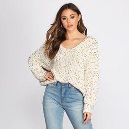 Confetti Knit V Neck Sweater   Windsor Stores