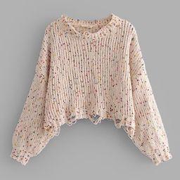 Drop Shoulder Crop Frayed Sweater   SHEIN