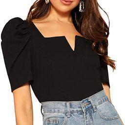 ROMWE Women's Puff Sleeve Square Neck Elegant Slim Fit Rib Knit Blouse Tops | Amazon (US)
