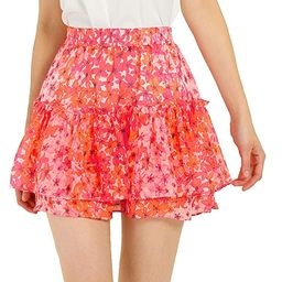 Allegra K Women's Cute Ruffle Mini Skirt High Waist A-Line Floral Print Layered Short Skirts | Amazon (US)