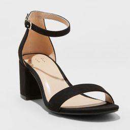 Women's Michaela Faux Leather Mid Block Heel Sandal Pumps - A New Day™ | Target