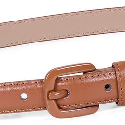 Women Skinny Leather Belt Thin Waist Jeans Belt for Pants in Pin Buckle Belt by WHIPPY, Brown, Pa...   Amazon (US)