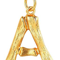 Bamboo Initial Necklace Stainless Steel Based 18k Gold/Black Gun Plated DIY Womens Mens Fashion J...   Amazon (US)