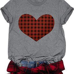 Buffalo Plaid Heart Shirt Top Womens Valentine's Day T Shirt Short Sleeve Cute Graphic Print Tee   Amazon (US)