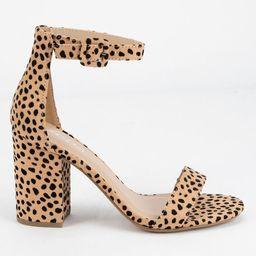 SODA Cheetah Ankle Strap Womens Block Heels | Tillys