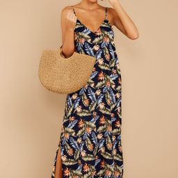 Are We There Yet Navy Tropical Print Maxi Dress | Red Dress