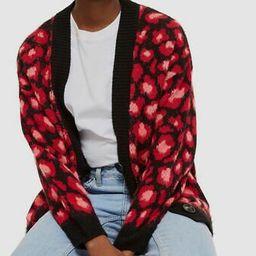 $182 Topshop Women's Red Long-Sleeve Open Leopard Print Cardigan Sweater Size 10 | eBay US