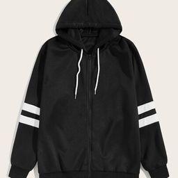 Men Varsity Striped Drawstring Hooded Jacket   SHEIN