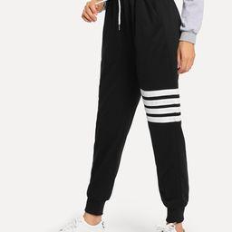 Drawstring Waist Varsity-Striped Sweatpants   SHEIN