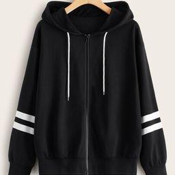Zip-up Stripe Sleeve Drawstring Hoodie   SHEIN