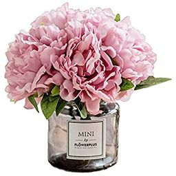 Fresh home ,Artificial Flowers with Vase, Fake Peony Flowers in Gray Vase,Faux Flower Arrangement... | Amazon (US)