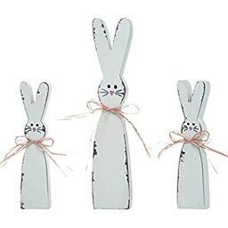 Holiday Designs Rustic Easter Bunny Wooden Figurine Decor Set of 3 - Tabletop Decoration or Cente... | Amazon (US)