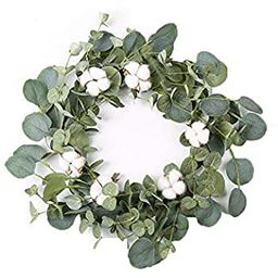 """14"""" Artificial Eucalyptus Green Leaf Wreath with Cotton, Spring Summer Outdoor Ornaments for Fron... 