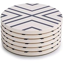 LIFVER Coasters for Drinks, Grey-line Style Absorbent Stone Coaster Set with Cork Base, Housewarm... | Amazon (US)
