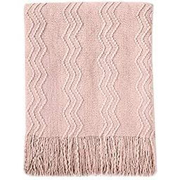 """Bourina Textured Solid Soft Sofa Throw Couch Cover Knitted Decorative Blanket, 50"""" x 60"""", Pink 