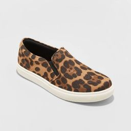 Women's Reese Wide Width Canvas Leopard Print Quilted Sneakers - A New Day™ Brown 12W   Target