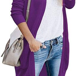 Women's Cardigan Open Front Long Knited Sweaters with Pockets   Amazon (US)