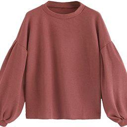 SweatyRocks Women's Drop Shoulder Mock Neck Pullover Sweater Long Sleeve Basic Crop Sweaters | Amazon (US)