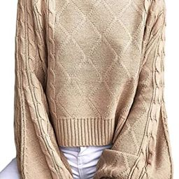 Angashion Women's Casual Loose Long Sleeve Mock Turtleneck Cable Knit Pullover Sweater Tops | Amazon (US)
