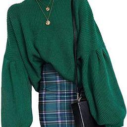 PRETTYGARDEN Women's Loose Drop Shoulder Long Lantern Sleeve Round Neck Fashion Pullover Knit Swe... | Amazon (US)