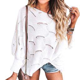 ECOWISH Women Sweater Oversized Lantern Sleeve Jumper Irregular Wave Hem Knitted Pullover Sweater... | Amazon (US)
