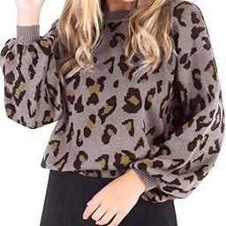 MEROKEETY Women's Crew Neck Leopard Print Balloon Sleeve Knitted Pullover Sweater Tops | Amazon (US)