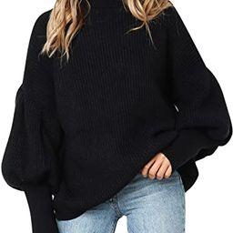 Missy Chilli Women's Turtleneck Long Lantern Sleeve Pullover Casual Loose Sweater | Amazon (US)