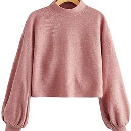 SweatyRocks Women's Casual Mock Neck Lantern Long Sleeve Knit Crop Top Sweater | Amazon (US)