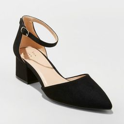 Women's Natalia Microsuede Pointed Toe Block Heeled Pumps - A New Day™   Target
