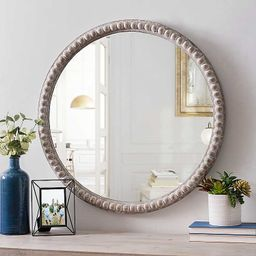 Round Natural Beaded Wall Mirror | Kirkland's Home