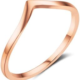 Stainless Steel Pointed Chevron Classical Simple Plain Statement Promise Ring | Amazon (US)