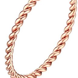 Women's Stainless Steel 1.5mm Rope Thin Wedding Ring Silver Rose Gold Plated Size 4 to 9 | Amazon (US)