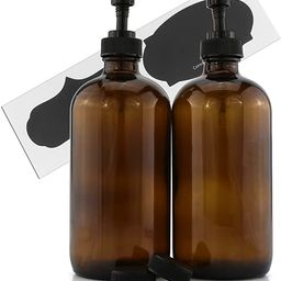 Cornucopia Brands 16-Ounce Amber Glass Bottles w/Pump Dispensers (2-Pack); Refillable Lotion Liqu... | Amazon (US)