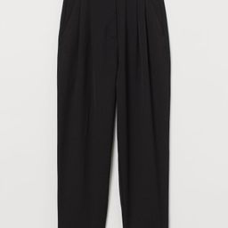 Ankle-length slacks in lightweight twill made from viscose and recycled polyester. High waist wit... | H&M (US)