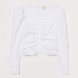 Blouse in crisp, woven fabric. Gathered seams at front, back and sides. Opening at back of neck w... | H&M (US)