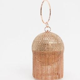 ASOS DESIGN rose gold rhinestone fringe sphere bag | ASOS US