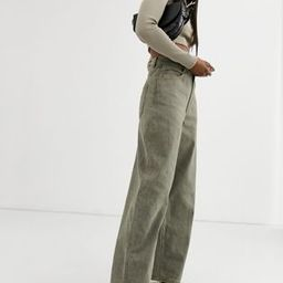 ASOS DESIGN High rise 'relaxed' dad jeans in khaki | ASOS US