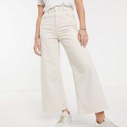 ASOS DESIGN premium wide leg jeans in bone white | ASOS US