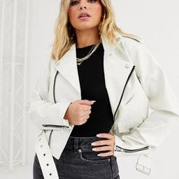 ASOS DESIGN white oversize leather look biker jacket | ASOS US
