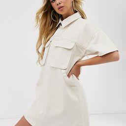 ASOS DESIGN denim boxy shirt dress in ecru | ASOS US