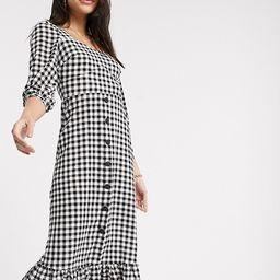Warehouse gingham square neck peplum dress in black | ASOS US