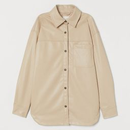 Shirt jacket in faux leather. Collar, buttons at front, and a yoke. Open chest pocket, concealed ... | H&M (US)