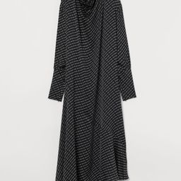 Straight-cut, ankle-length dress in satin with a printed pattern. Draped collar, concealed zipper... | H&M (US)