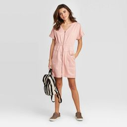 Women's Short Sleeve V-Neck Zip-Up Elastic Waist Dress - Universal Thread™   Target