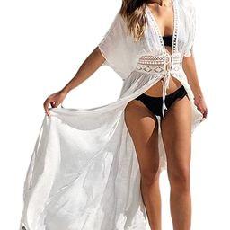 Bsubseach Women Solid Color Long Beach Kimono Cardigan Open Front Bikini Swimsuit Cover Up | Amazon (US)