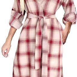 Women Long Sleeve Plaid Pattern Tunic Tops Shirt Casual Dress   Amazon (US)