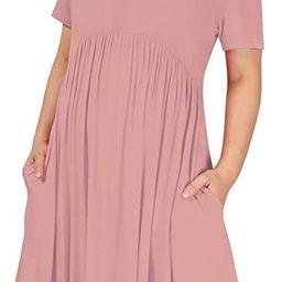 Women's Plus Size Dresses Scoop Neck Flowly Pleated Tunic Midi Casual Polka Dots Dress with Pocke...   Amazon (US)
